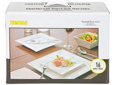 Gebaksbordjes | Hiervan ALLEEN 4x bord 16 cm van de startersset vierkant servies 16-delig