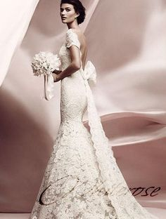 Vintage Lace Wedding Dress with Deep V Back and Cap Sleeves CUSTOM