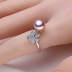 Purple freshwater pearl ring 100% real freshw...