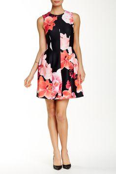 Sleeveless Print Scuba Fit & Flare Dress