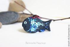 Купить Рыбка. Брошь. - бирюзовый, голубой, мятный, рыбка, розовый, брошь ручной работы, брошь