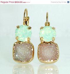 XMAS In JULY SALE Mint & Gray Druzy Earrings Double by inbalmishan