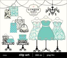 chic Fashion Boutique dressing room shopping clip art digital illustration Tiffany Blue turquoise (CA222)