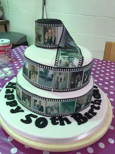 Camera film two tier 50th birthday cake