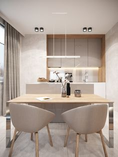 Light cream interior design of comfortable apartments in Warsaw Kitchen Room Design, Modern Kitchen Design, Home Decor Kitchen, Kitchen Layout, Interior Design Living Room, Home Kitchens, Kitchen Furniture, Apartment Kitchen, Office Furniture
