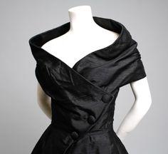 Christian Dior Haute Couture, Robe du Soir Courte, Paris, 1955  black dress  Vintage Christian Dior Paris Couture Cocktail Dress 1950's 50's 1955 - robe du soir courte