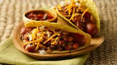 Here's a playful twist on hot dogs in a bun. Use prepared chunky salsa and canned pinto beans for fast toppings that don't skimp on flavor.