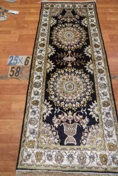 "2'6""x6' Runner Hand-knotted 200 kpsi Silk Oriental Persian Tabriz Rug 437"