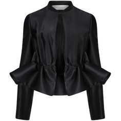 Victoria Victoria Beckham Black Twill Ruffle Peplum Jacket ($235) ❤ liked on Polyvore featuring outerwear, jackets, tops, blazer, peplum blazer jacket, cropped blazer, long sleeve peplum jacket, twill blazer and heavy jacket
