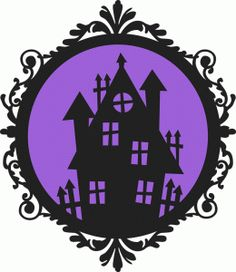 Silhouette Design Store: halloween haunted house frame