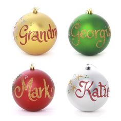 Family GIft Pack - 10cm Personalised Christmas Baubles - Set of 4 colourful 10cm shatterproof baubles. Personalise each bauble with a name in glitter calligraphy. Includes 4 organza bags.