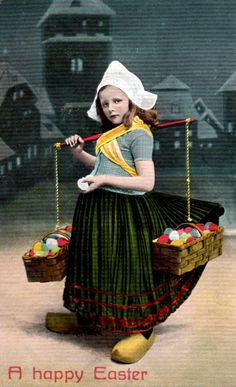 RPPC vintage Easter postcard, Dutch girl with eggs