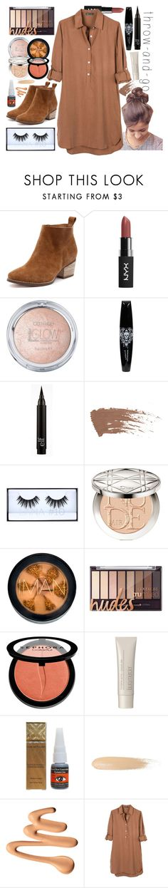 """""""Throw n' Go Contest Entry"""" by marymh ❤ liked on Polyvore featuring Huda Beauty, Christian Dior, Iman, Sephora Collection, Laura Mercier, Too Faced Cosmetics, United by Blue, booties, sundress and Nudes"""