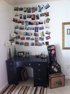 Display your postcards with wire, thumb tacks, and clothespins.
