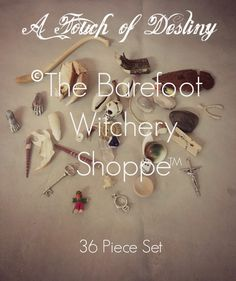 A Touch of Destiny, 36 Piece Set With Cotton Muslin Bag - The Barefoot Witchery Shoppe Cotton Muslin, Muslin Bags, Sea Urchin Spines, Best Of Intentions, Altar Cloth, Deer Antlers, Crucifix, The Conjuring, Coffin Nails