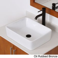 ELITE 9924F371023 High-temperature Rectangular Ceramic Bathroom Sink and Faucet Combo | Overstock.com Shopping - Great Deals on Elite Bathroom Sinks