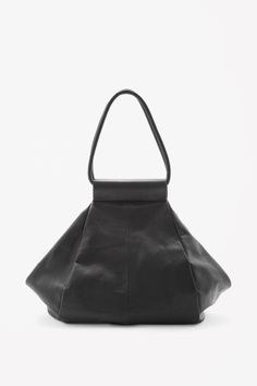 Folded leather shopper