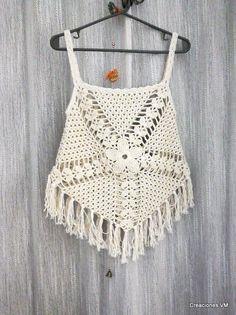 top a crochet con flecos. playa, verano.                                                                                                                                                     More