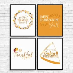 Printable Thanksgiving Wall Art Decor: Set of 4 Instant Download Prints ------------------------------------------------------------------------------------------------ Get quick, affordable wall art with these modern, graphic prints, perfect for your seasonal Thanksgiving decorations, or your Thanksgiving Dinner Party. These prints will be sent directly for you to download from Etsy upon purchase (no physical item will be sent). The following sizes will be sent in JPEG and PDF format: -...
