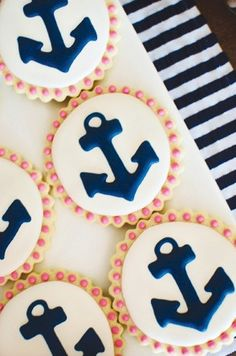 Nautical themed cookies!!! Could also work for cupcakes. I love the nautical theme for a 4th of July party.