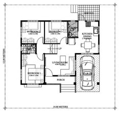 Modern bungalow house designs and floor plans one story small home plan with one car garage Modern Bungalow House Design, Modern House Plans, Small House Plans, Single Storey House Plans, One Storey House, 3 Bedroom Floor Plan, Three Bedroom House Plan, Garage House Plans, House Plans One Story