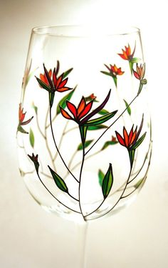 Hand Painted Wine Glass Birds of Paradise Crystal by decouverre