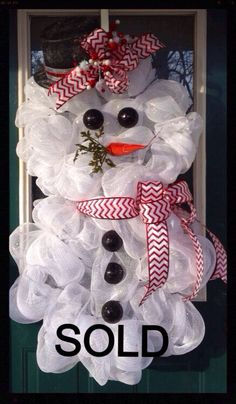 Snowman mesh wreath on Etsy, $60.00