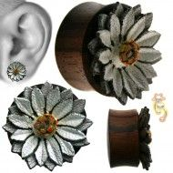 wholesale body jewelry white water lily wooden organic plug PO4-16 Product Code: PO4-16 Ear Tunnels, Tunnels And Plugs, Organic Plugs, Wholesale Body Jewelry, Stretched Lobes, Leather Flowers, Belly Rings, Body Mods, Wood Design