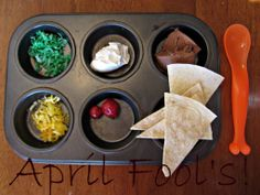 April Fools Make your own Taco ~ everything looks like taco ingredients but it is really  to make ice cream sundaes!!