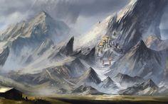 Download Hintergrund Kunst,  Landschaft,  Fantasie,  Gebirge Freie desktop Tapeten in der Auflosung 1680x1050 — bild №353281