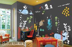 Underwater Wall Decal Kids and Nursery Wall by pinknbluebaby