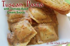 Tuscan Pasta with Tomato-Basil Cream – The Home Heart Pasta Recipes, Salad Recipes, Dinner Recipes, Drink Recipes, Dinner Ideas, Basil Cream Sauces, Basil Sauce, Weeknight Meals, Easy Meals