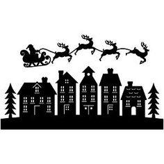 Silhouette Design Store: santa flying over houses Christmas Vinyl, Christmas Town, Vintage Christmas, Christmas Crafts, Christmas Ornaments, Santa Sleigh Silhouette, House Silhouette, Silhouette Design, Diy Natal