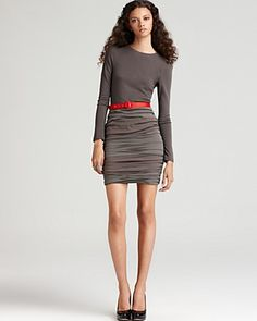 Alice + Olivia Dee Gathered Skirt Dress with Red Belt