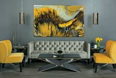 high fashion home gray wall with yellow paintingliving room idea 55