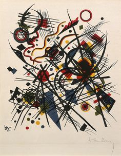 Kandinsky's art and writings were instrumental to the development of abstraction in the early twentieth century. This lithograph was made during the artist's first year as a professor at the Bauhaus, and stands out as one of the few nonfigurative works in a portfolio that includes Surrealist, Cubist, and Futurist works. Using shards of primary color, overlapping geometric shapes, and competing gestural strokes, Kandinsky exploded the idea that expression and content in art depend on the…