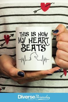 Horse Heartbeat Mug / Cup. If this is how your heart beats this mug is perfect f - Horse Tshirt - Fashionable horse tshirts for sales - Horse Heartbeat Mug / Cup. If this is how your heart beats this mug is perfect for you. Pretty Horses, Beautiful Horses, Horse Gifts, Gifts For Horse Lovers, Horse Shirt, Horse Quotes, Horse Pictures, In A Heartbeat, Heartbeat Quotes