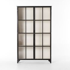 shop camila industrial black iron display cabinet with glass doors on sale dual openfront glass doors and shelving maximize storage