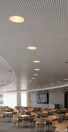 white perforated metal ceiling
