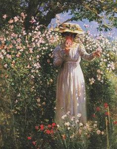 ⊰ Posing with Posies ⊱ paintings of women and flowers - Robert Reid | A Summers Day