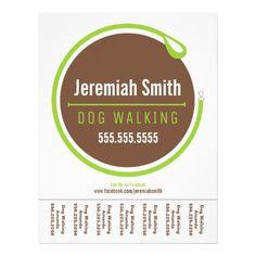 dog walker walking leash loop green tear sheet custom flyer dog walker flyer dog walking