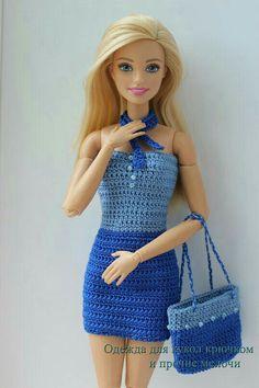 Crochet mermaid outfit / for doll - kiko Crochet Doll Dress, Crochet Barbie Clothes, Doll Clothes Barbie, Barbie Knitting Patterns, Barbie Clothes Patterns, Barbie Fashionista, Barbie Gowns, Barbie Dress, Barbie Model