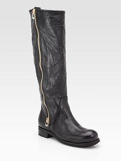 Jimmy Choo Side-Zip Leather Biker Knee High Boots $765