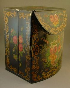 Tin Toleware Tea Caddy Box Signed M. Leister.