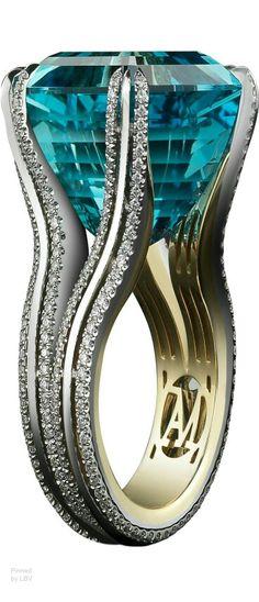 Aquamarine set with diamonds