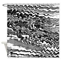 Black And White Abstract Marbling Shower Curtain> Victory Ink Tshirts and Gifts