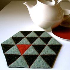 Geometric felt trivet, recycled, from Plytextiles on Etsy