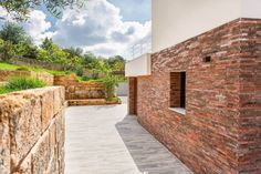 Image 13 of 25 from gallery of Courtyard House of Stone / Studio Photograph by Angelo Geloso Stone Facade, Stone Pictures, Courtyard House, Sicily Italy, Brick And Stone, Interior Architecture, Sidewalk, Landscape, Studio