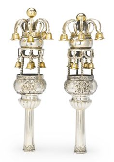 A pair of Moroccan parcel-gilt silver Torah finials, circa 1900 | Lot | Sotheby's SOLD. 8,750 USD