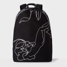 Paul Smith Men's Black Embroidered 'Botanical' Backpack
